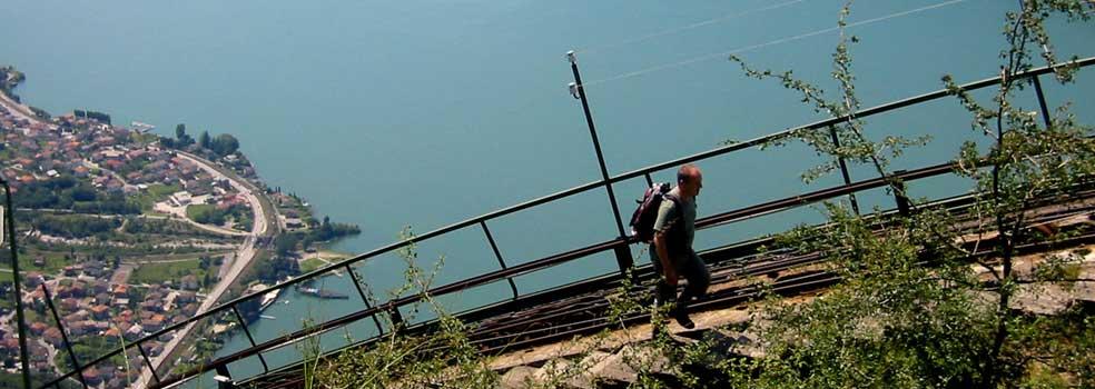 Gleis mit Aussicht über den Lago di Mezzola.